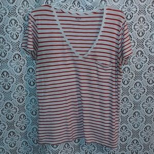 Madewell red and  cream stripped tee